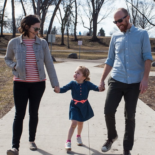 Dr. Harnish walking with his family